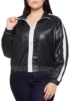 Plus Size Contrast Trim Windbreaker Jacket - 3802062128000
