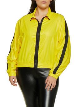 Plus Size Contrast Trim Windbreaker Jacket - 3802062128000