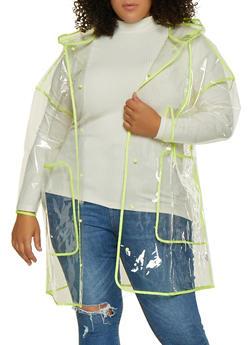 Plus Size Clear Plastic Rain Jacket - 3802062129000