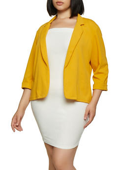 Plus Size Fixed Cuff Blazer - 3802062701151