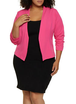 Plus Size Ruched Open Front Blazer - 3802062701315