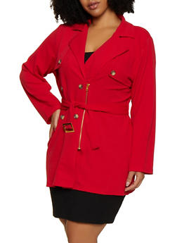 Plus Size Textured Knit Trench Coat - 3802062702723
