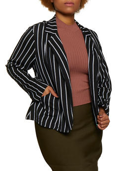 Plus Size Striped Textured Knit Blazer - 3802062703018