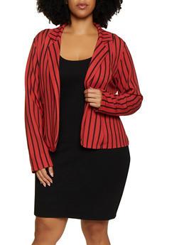 Plus Size Striped Textured Knit Blazer - 3802062703018
