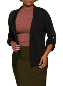 Plus Size Collared Tab Sleeve Blazer - 3802062703019