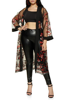 Plus Size Flower Embroidered Mesh Duster - 3802074282611