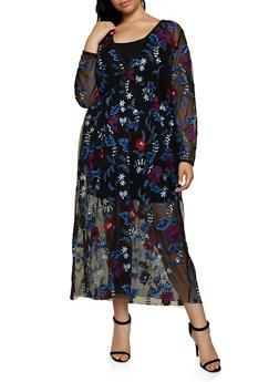 Plus Size Embroidered Mesh Faux Wrap Maxi Dress - 3802074282612