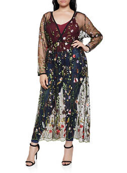 Plus Size Embroidered Mesh Faux Wrap Maxi Dress - 3802074282612