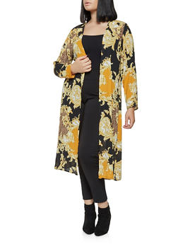 Plus Size Printed Duster - 3802074286010