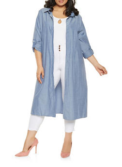 Plus Size Chambray Tabbed Sleeve Duster - 3802074286012