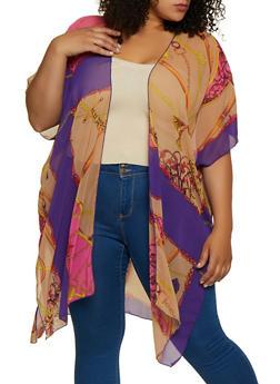 Plus Size Status Print Kimono - 3802074287308