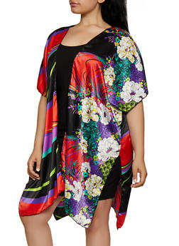 Plus Size Floral Striped Side Slit Kimono - 3802074287309