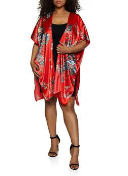 Plus Size Satin Floral Kimono - 3802074287310