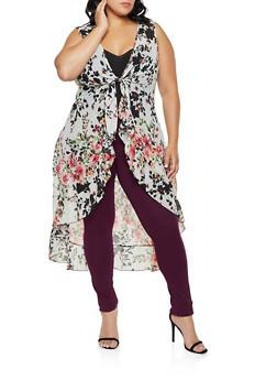 Plus Size Floral Tie Front Duster - 3802074288149