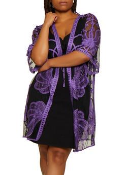 Plus Size Tie Front Embroidered Mesh Kimono - 3802074733280