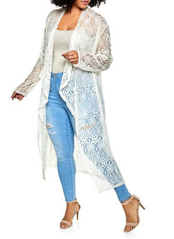 Plus Size Patterned Lace Duster - 3802074738890