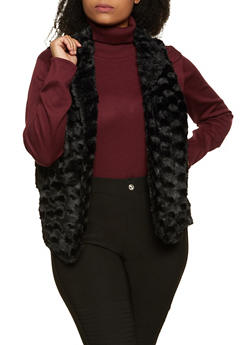 Plus Size Faux Fur Flyaway Vest - 3802075222031