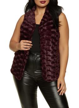 Plus Size Faux Fur Flyaway Vest - 3802075222031