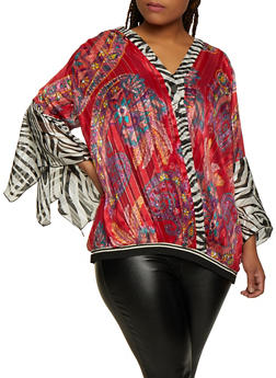Plus Size Mixed Print Lurex Top - 3803030844018