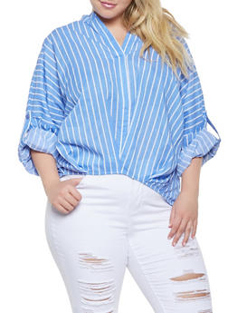 Plus Size Striped High Low Top - 3803030844073