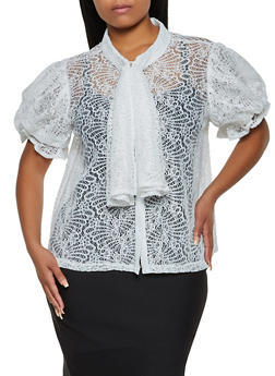 Plus Size Lace Tie Neck Top - 3803030844085