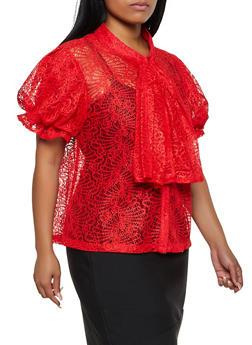 Plus Size Lace Tie Neck Top - 3803030844085