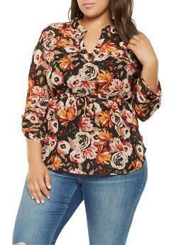Plus Size Floral High Low Blouse - 3803030844133