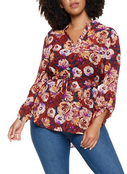 Plus Size Floral High Low Blouse - 3803030844133