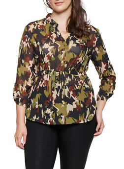 Plus Size Camo Tabbed Sleeve Blouse - 3803030844134