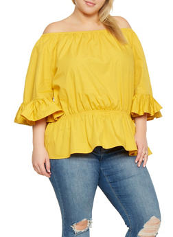 Plus Size Ruffled Off the Shoulder Top - 3803030844177