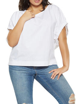 Plus Size Elastic Dolman Sleeve Poplin Top - 3803030844184