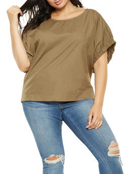 Plus Size Elastic Dolman Sleeve Poplin Top - 3803030844184
