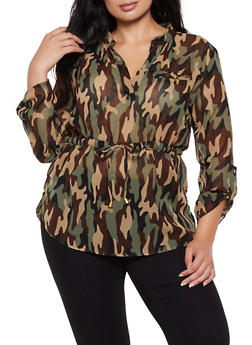 Plus Size Cinched Waist Camo Top - 3803030844611