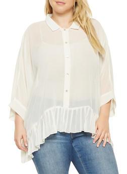 Plus Size Pleated Hem Shirt - 3803030844623