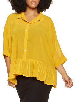 Plus Size Pleated Hem Shirt - 3803030844623