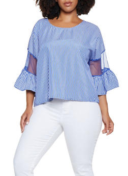 Plus Size Mesh Insert Striped Top - 3803030844667