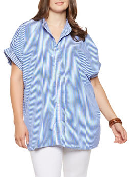 Plus Size Striped Tunic Top - 3803030844668
