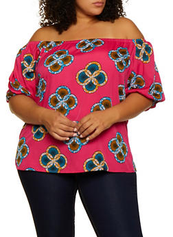 Plus Size Dashiki Off the Shoulder Top - 3803030844670