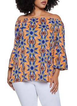 Plus Size Off the Shoulder Dashiki Top - 3803030844671