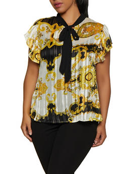 Plus Size Baroque Print Lurex Shadow Stripe Blouse - 3803030844777