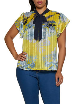 Plus Size Floral Lurex Shadow Stripe Blouse - 3803030844778