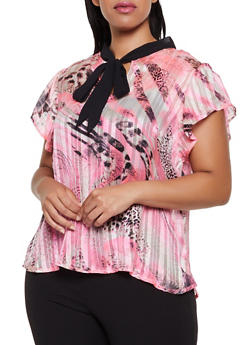 Plus Size Animal Print Lurex Shadow Stripe Blouse - 3803030844779