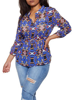 Plus Size Abstract Drawstring Waist Top - 3803030845113