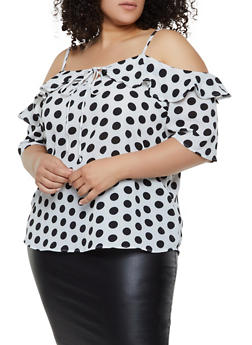 Plus Size Polka Dot Cold Shoulder Top - 3803038340601