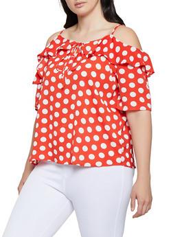 Plus Size Polka Dot Cold Shoulder Top - 3803038340601