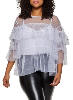 Plus Size Studded Mesh Ruffle Tiered Top - 3803038340602
