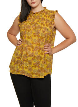 Plus Size Printed Ruffle Neck Top - 3803038340606