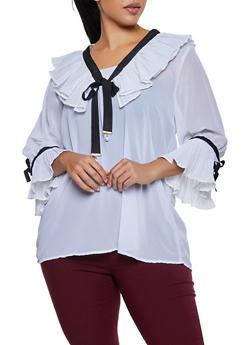 Plus Size Ruffled Ribbon Trim Blouse - 3803038340619