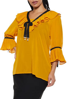 Plus Size Ruffled Ribbon Trim Blouse - 3803038340619