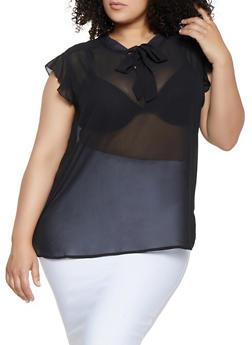 Plus Size Crepe Tie Neck Blouse - 3803038340620